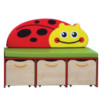 Nature Small Storage/Seating Unit – Red Edging