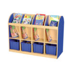 Milan Double Sided Book Storage Blue – 4 Blue Trays