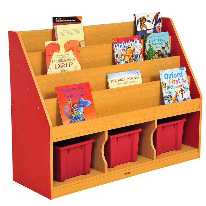 Milan Tiered Bookcase Red – 3 Large Trays