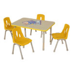 Thrifty Rectangular Table Yellow – 4 Seater