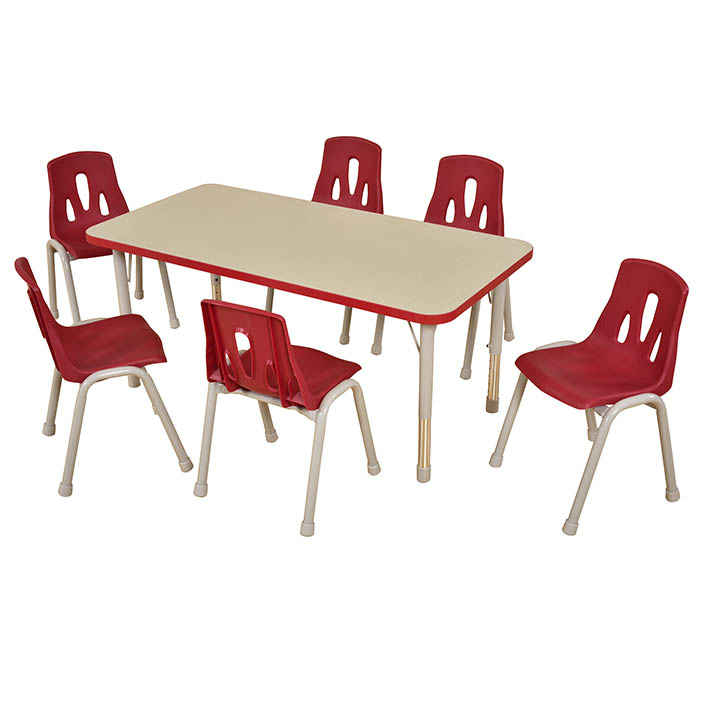 Thrifty Rectangular Table Red – 6 Seater