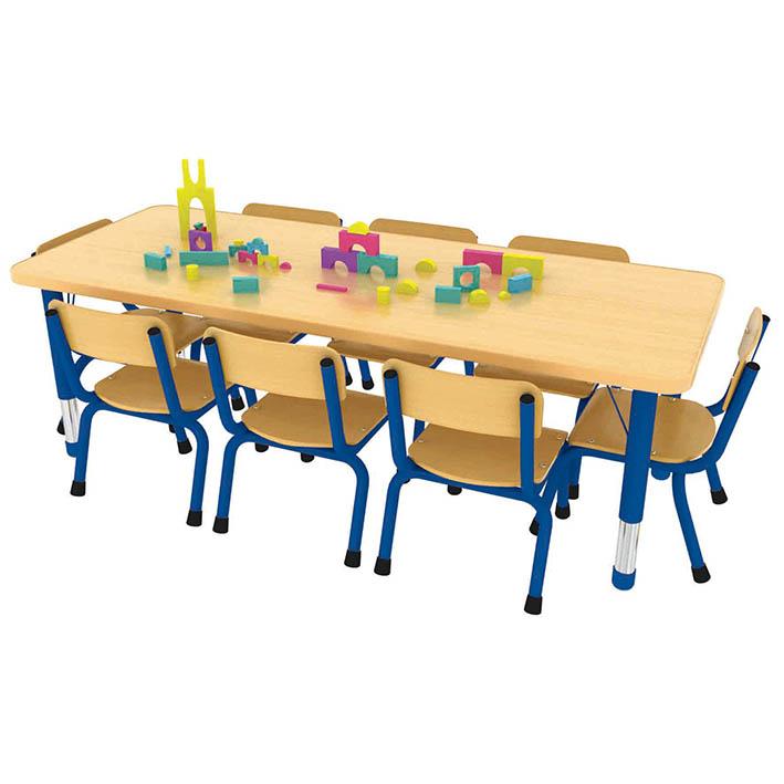 Milan Rectangular Table Blue – 8 Seater
