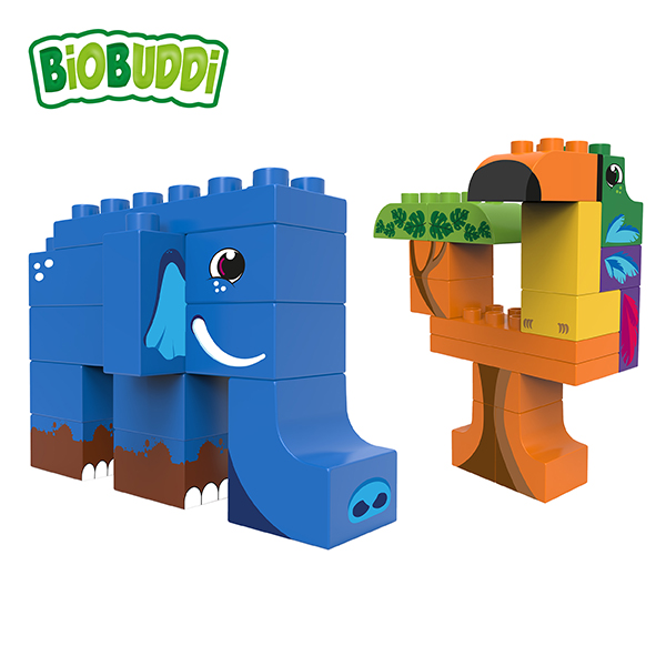 BiOBUDDi Jungle Wildlife Set – 27 Blocks