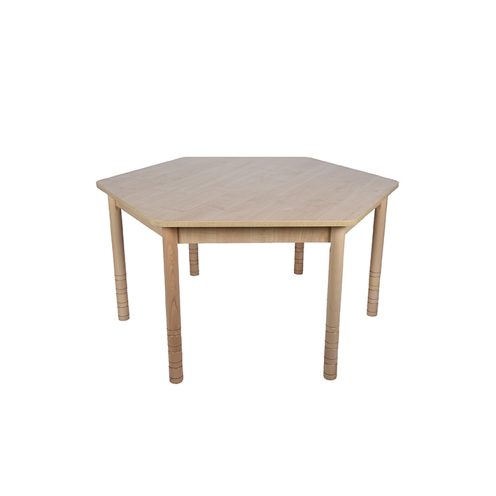 Height Adjustable Hexagon Table – Natural