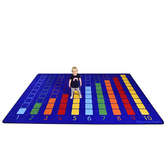 Large Counting Colour Grid Rug