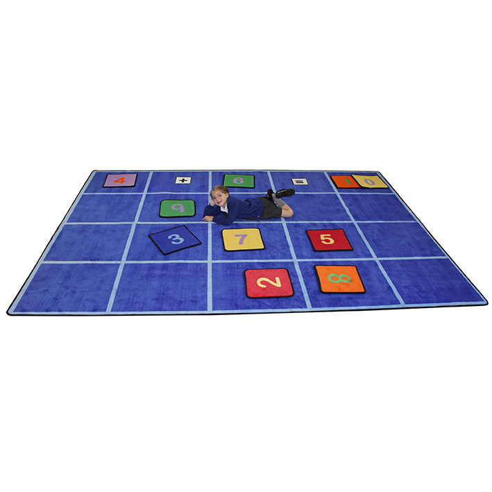 Large Grid Rug with Number Squares