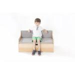Zona Reading Sofa with Storage and Grey Cushion Set