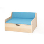 Zona Reading Sofa with Storage and Blue Cushion Set
