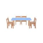 Pastel Blue Rectangle Table H460