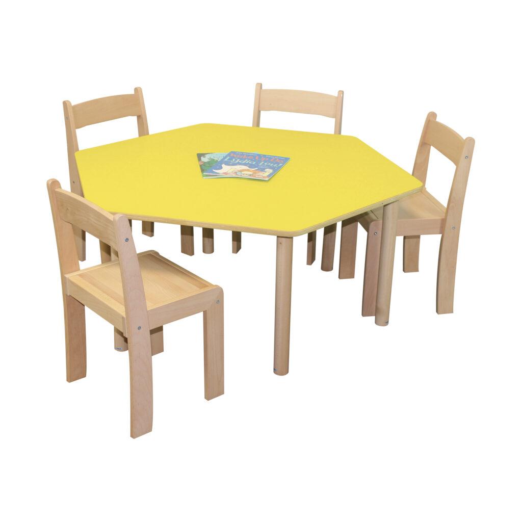 Pastel Yellow Hexagon Table H460