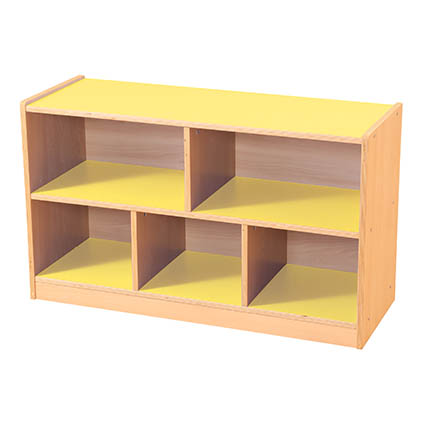 5 Compartment Straight Unit Yellow/Maple