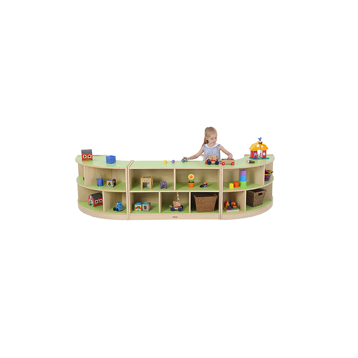 2 Shelf Curved Unit Green/Maple