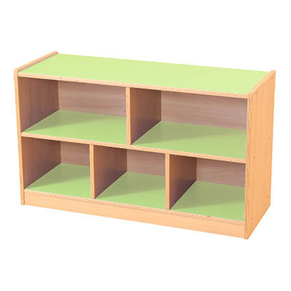 5 Compartment Straight Unit Green/Maple