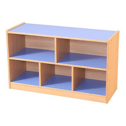 5 Compartment Straight Unit Blue/Maple