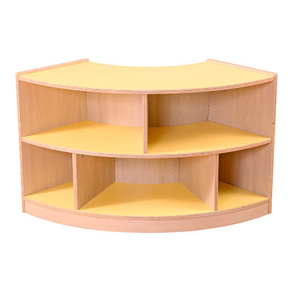 2 Shelf Curved Unit Yellow/Maple