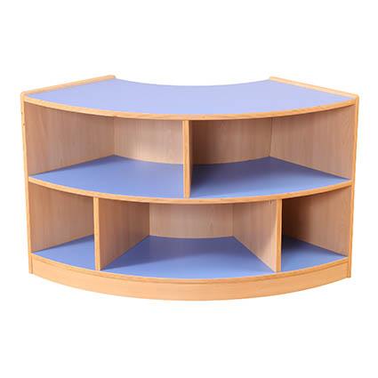 2 Shelf Curved Unit Blue/Maple